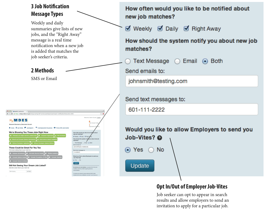 image showing how job seekers can register for notifications